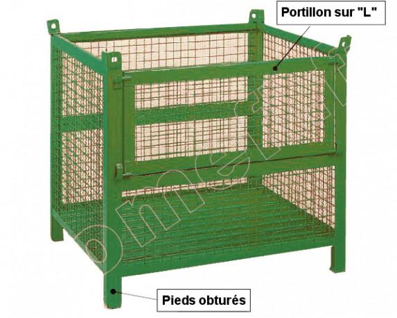 Conteneur grillagé 800 Kg / 1200 x 1000 H 800