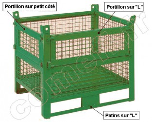 Conteneur grillagé 1000 Kg Double portillon 1200 x 800 H 650
